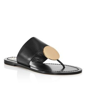 Tory Burch Patos Gold Disc Leather Sandals